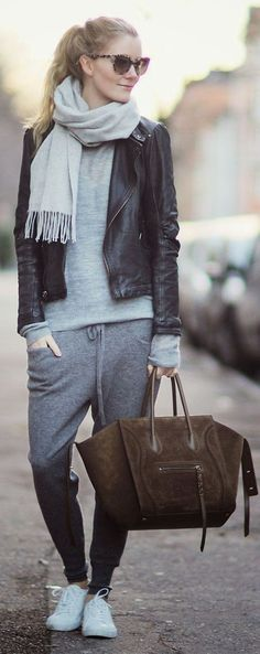 + ideas for trendy jogging pants for women - Style ✨ - outfit ideen Sweatpants Outfit, Sweatpants Style, Modern Outfits, Stylish Outfits, Airport Outfit Cold To Hot, Fashion Pants, Fashion Outfits, Jogging Outfit, Leather Jacket Outfits