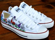 Custom hand painted flowers on low top Converse by @BStreetShoes, $149.00