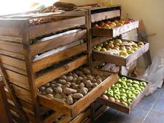 The Homestead Survival: Food Storage Ideas. This looks awesome. Homestead Survival, Survival Food, Survival Shelter, Emergency Preparedness, Survival Tips, Fruit And Vegetable Storage, Food Wallpaper, Sustainable Living, Fruits And Vegetables