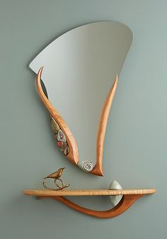 Placid Water and Stone Shelf: Jan Jacque: Ceramic & Wood Shelf and Mirror - Artful Home