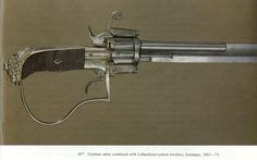 "pimpingweapons:  ""German sabre combined with Lefaucheux-system revolver, Germany, 1865-75"""
