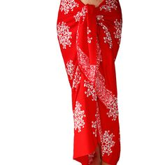 860259c0bf Batik Sarong Skirt Women s Clothing Sarong Red Pareo Wrap Skirt Beach Sarong  Thai Flower Red   White Beach Cover Up Woman Swimmer and Surfer