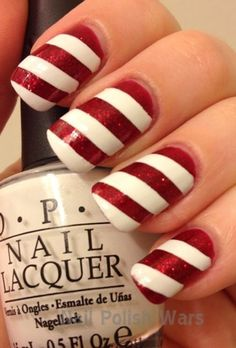 2013 Christmas candy cane nails, Christmas candy cane nails design in 2013, Simple candy cane short nail art in 2013     www.loveitsomuch.com