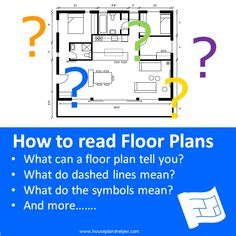 How to read floor plans. Click through to www.houseplanshelper.com for more on how to read floor plans, house plans and for more on home design. Blueprint Symbols, Floor Plan Symbols, Free Floor Plans, Study Site, Space Words, Contour Line, Roof Lines, Site Plans, Building A New Home