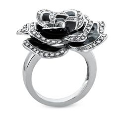 Diamond and Black Enamel Flower Ring in Sterling Silver