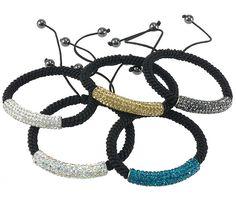 Bracelets Shamballa strass, laiton, avec argile
