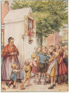Punch & Judy show Antique Art, Vintage Art, Punch And Judy, Cicely Mary Barker, Dutch Artists, Flower Fairies, Illustrations And Posters, Art Club, Book Illustration