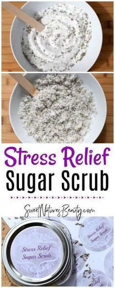 This Stress Relief Sugar Scrub has essential oils to calm the mind and body. Use as a hand scrub, foot scrub, or body scrub for natural skincare and natural beauty. #aromatherapy