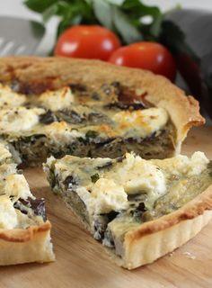 Roasted aubergine and ricotta tart