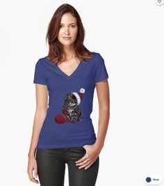 Cat Fitted V-Neck T-Shirt V Neck T Shirt, Fitness Models, Tee Shirts, Slim, Cats, Fabric, Cotton, How To Wear, Stuff To Buy