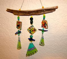 Multi-color Wind chime Recycled Glass and Driftwood Etsy