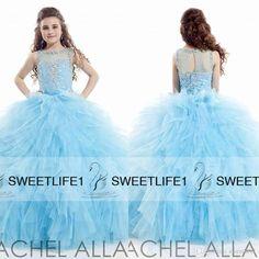 Blue Ball Gown Girls Pageant Dresses Jewel Neck Sheer Back Little Girls Formal Gowns Sweep Train Beaded Kids Wear Rachel Allan 2015 Custom