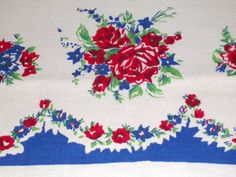 VINTAGE 1940s Red White Blue Tablecloth SUMMER ROSES by insideredo, $35.00