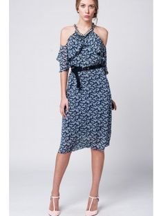 c9f105a3f42ae3 Navy midi dress in woven fabric with flower print. Ruffled with  off-shoulder and open back with tie detail. Color  Blue Material  Polyester  Item Fit ...