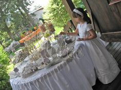 la barra dulce first communion chevron white grey silver primera comunion en #Guatemala