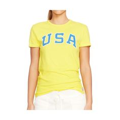 Polo Ralph Lauren Team Usa Cotton Jersey Tee ($55) ❤ liked on Polyvore featuring tops, t-shirts, cotton jersey, graphic tees, ralph lauren tee, graphic design t shirts and pattern t shirt