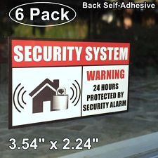 Home Business Security Burglar Alarm System Window Warning Vinyl - Window decals for home security