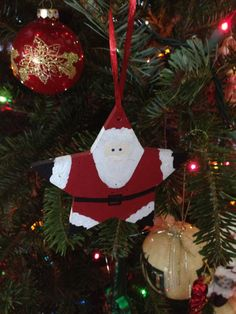 Christmas Santa Star wooden Handpainted Ornament by SignCreation, $15.00