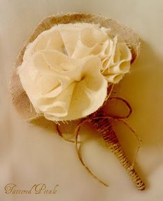 Cotton Linen and Hemp Boutonniere  Fabric Flower by TatteredPetals, $15.00