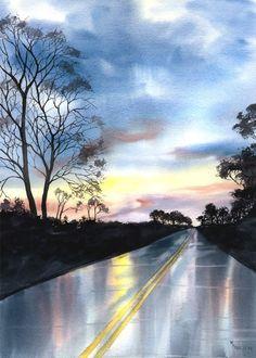 The Road Home - watercolor by ©Mary Ellen Golden (via Etsy)