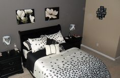 Black and white bedroom idea... Not sure how I feel about the comforter and pillows