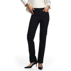 Lands' End Women's Petite High Rise Straight Leg Jeans ($59) ❤ liked on Polyvore featuring jeans, black, relaxed fit straight leg jeans, relaxed straight leg jeans, high rise straight leg jeans, high-waisted jeans and high rise petite jeans