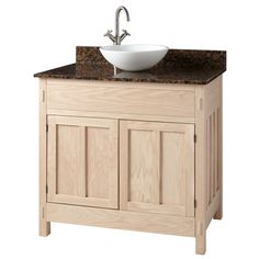 "30""+Unfinished+Narrow+Depth+Mission+Hardwood+Vessel+Sink+Vanity"