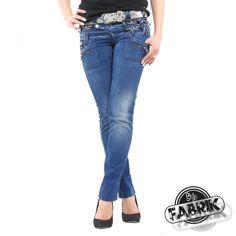 Designer Jeans mit dreifachem Bund von Cipo   Baxx im Slim Fit Schnitt    Farbe  Dunkelblau 1e2b0353b1