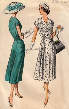 1950s Sunday Dress Pattern  McCalls 4127  Pretty Frock with Yoke and Neckline Detail Circa 1957  Bust 44 di ShellMakeYouFlip su Etsy https://www.etsy.com/it/listing/230903837/1950s-sunday-dress-pattern-mccalls-4127