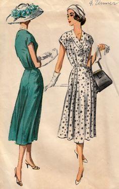 1950s Sunday Dress Pattern McCalls 4127 Pretty Frock with Yoke and Neckline Detail Circa 1957 Bust 44 di ShellMakeYouFlip su Etsy https://www.etsy.com/it/listing/230903837/1950s-sunday-dress-pattern-mccalls-4127