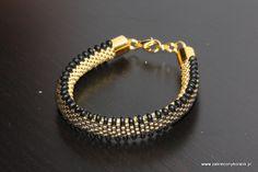 Gąsieniczka czarno złota – sznur szydełkowo-koralikowy