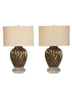 Pair Brass Swirl Vases Mounted as Custom Lamps, Italy c.1950 | The HighBoy | www.thehighboy.com