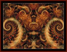 Fractal 276 Steampunk-style downloadable cross stitch pattern by Cross Stitch Collectibles -- 400w x 300h -- $9.99 -- Download now at http://store.payloadz.com/go/?id=816807  Cross stitch your own masterpiece with one of our 4,000+ downloadable fine art patterns at http://clicknstitch.net! #needlepoint