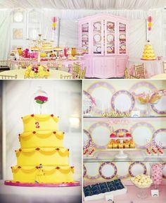 En rose et en jaune - idées déco anniversaire - La belle et la bete design déco Disney