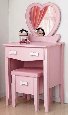 Little Girl Vanity Table Girl Bedroom Designs, Girls Bedroom, Bedroom Decor, Girls Vanity Table, Vanity Tables, Little Girl Vanity, Pink Furniture, Cute Furniture, Furniture Ideas