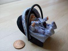 dolls house ooak sculpt baby boy + car seat/baby carrier, 1/12 scale