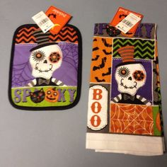 Halloween Skull Spooky Kitchen Dish Towel And Pot Holder Purple Orange Black New #NantucketDistributingCo