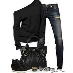 LOLO Moda: Stylish women outfits Love the shoes the most and the off the shoulder sweater Mode Outfits, Winter Outfits, Fashion Outfits, Womens Fashion, Fasion, Fashion Ideas, Winter Clothes, Kimono Fashion, School Outfits