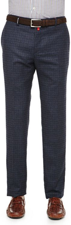 $697, Navy Check Dress Pants: Kiton Check Cashmere Blend Trousers Navybrown. Sold by Neiman Marcus. Click for more info: https://lookastic.com/men/shop_items/153488/redirect