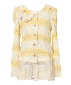 Loving this Beige & Yellow Stripe Lace-Hem Cardigan - Toddler & Girls on #zulily! #zulilyfinds