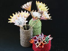 Puzzle Pots and Paper Flowers for Exhibition