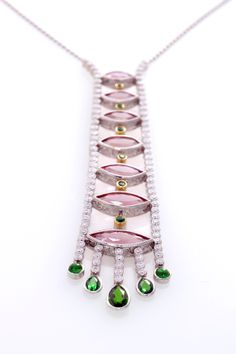 Pink Topaz and Tsavorite Necklace set in Platinum, handmade by Ricardo Basta Fine Jewelry