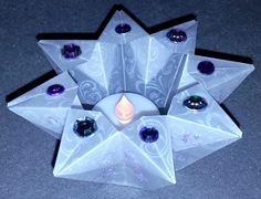 #Windlicht aus #Origami, #falten, #Teelicht, #Stern, Keywords: windlight, luz de viento, lumière du vent,  ветровая лампа, światło wiatrów, lyhty, lygte, vindlys, 風光 - star, estrella, étoile, звезда, gwiazda, stelle, ster, tähti, stjerne, 明星,