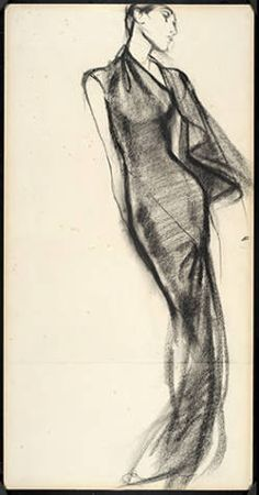 Drawing: Evening dress with demi-cape :: Museum Collection Artist: Antonio Lopez Designer: Charles James
