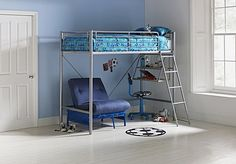 Buy Sit 'n' Sleep Metal High Sleeper Bed Frame - Blue Futon at Argos.co.uk, visit Argos.co.uk to shop online for Children's beds, Children's beds, Children's beds