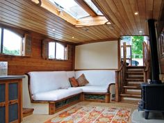 Chiselpig custom boat-woodwork craft : incredible stuff ~ here is just one example of their boat magic, a bespoke widebeam canal boat fit-out