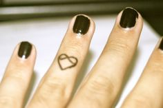 Infinity heart finger tattoo... i dont really care for tattoos but this one is cute