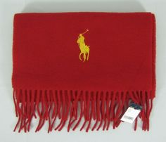 Polo Ralph Lauren scarf big pony virgin wool men's red winter scarf NEW #PoloRalphLauren #Scarf 37.99