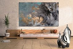 50''x30'' Abstract Watercolor Pint on Canvas by JuliaApostolova