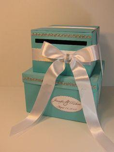 2 tier Tiffany Blue Wedding Card Box Gift Card Box by bwithustudio, $85.00